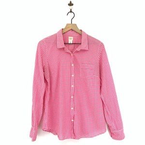 J.Crew Gingham Check Button Down Perfect Shirt M